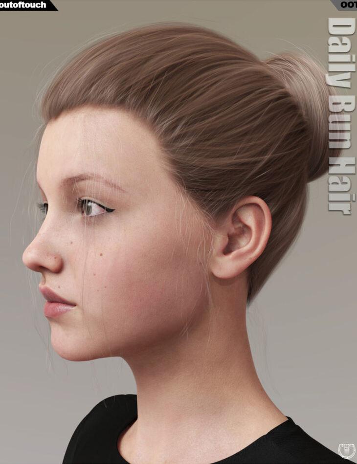 Daily Bun Hair for Genesis 3 and 8 Females