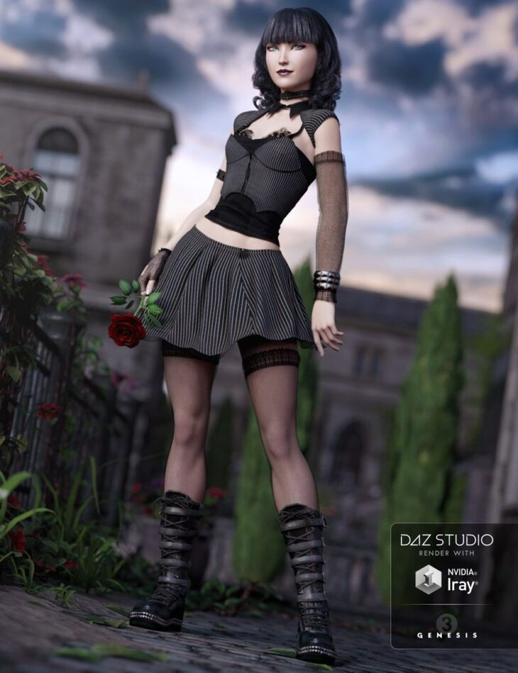 Goth Girl Outfit for Genesis 3 Female(s)