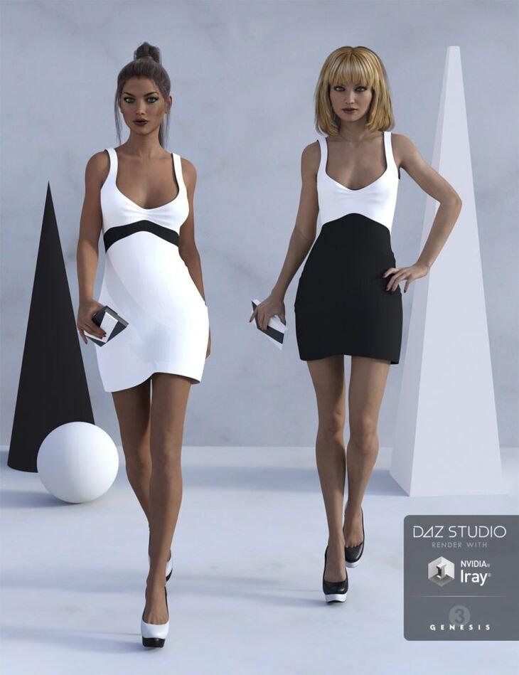 Little Black and White Dress for Genesis 3 Female(s)