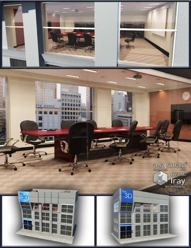 Office Building with Conference Room Items