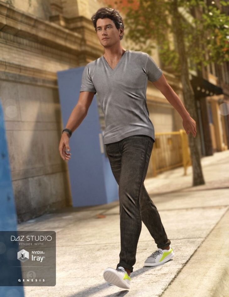 V-Neck T-Shirt and Jeans Outfit for Genesis 3 Male(s)