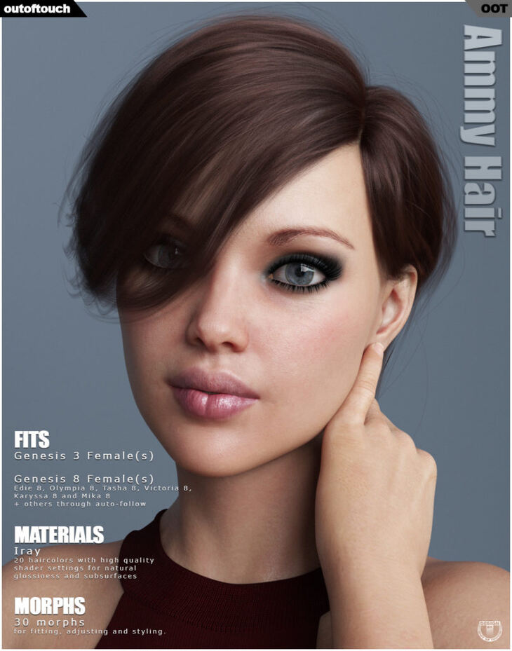 Ammy Hair for Genesis 3 and 8 Females