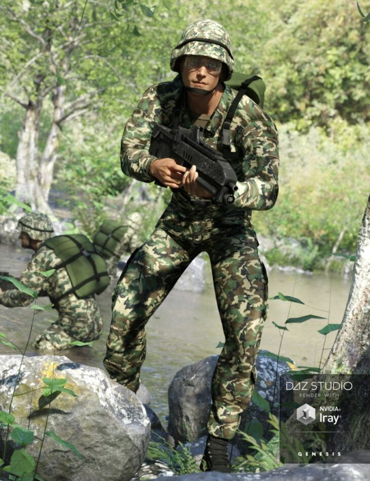 Army Uniform for Genesis 3 Male(s) and Genesis 2 Male(s)