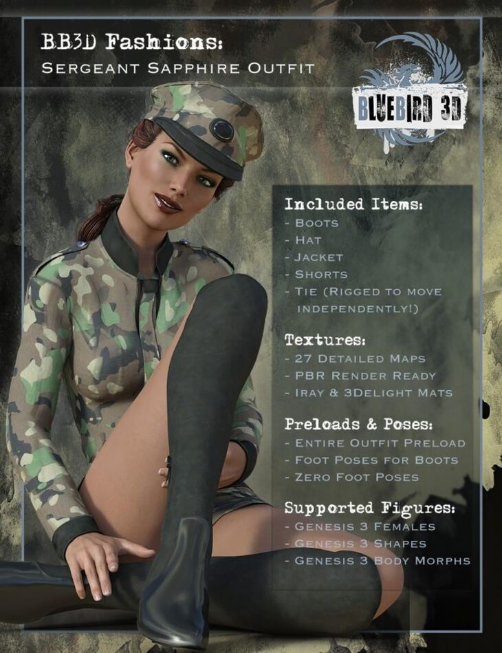 BB3D Fashions: Sergeant Sapphire for Genesis 3 Female(s)