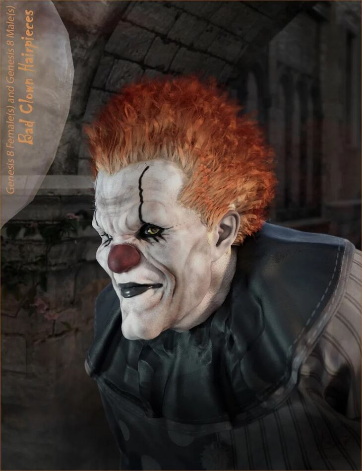 Bad Clown Hairpieces for Genesis 8 Male(s) and Female(s)