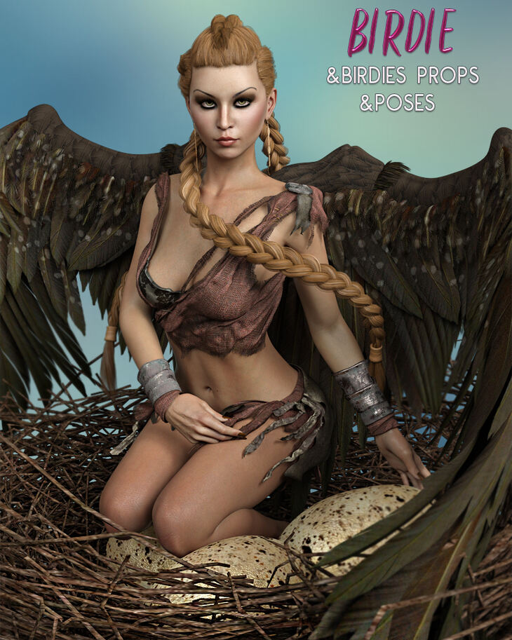 Birdie and Birdies Props and Poses for Genesis 8 Female