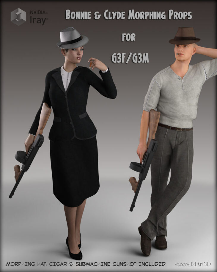 Bonnie And Clyde Morphing Props for G3F/G3M