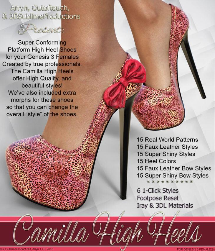 Camilla High Heels for Genesis 3 Female(s)
