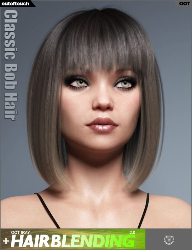 Classic Bob Hair for Genesis 3 and 8 Female(s)