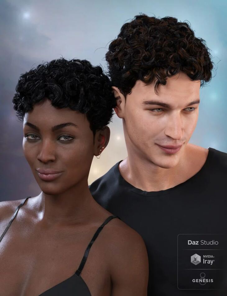 Curly Top Hair for Genesis 3 and 8