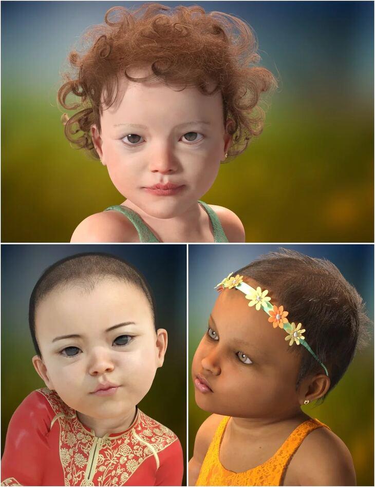 Cute Baby Hairs for Genesis 8 Female(s)