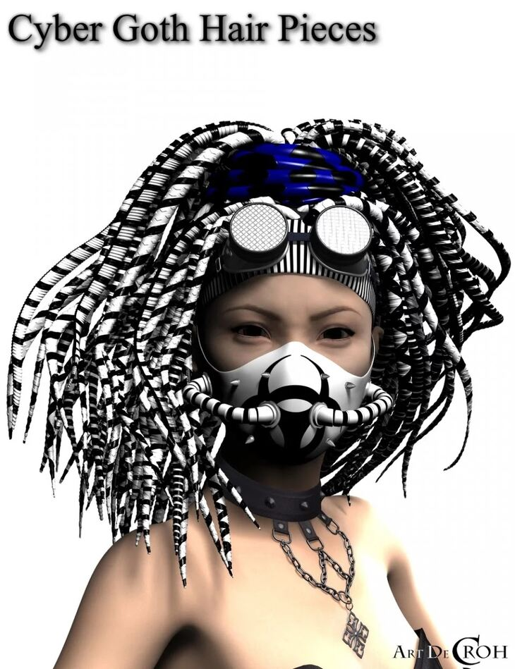 Cyber Goth Hair Pieces for Genesis 8 Female(s)