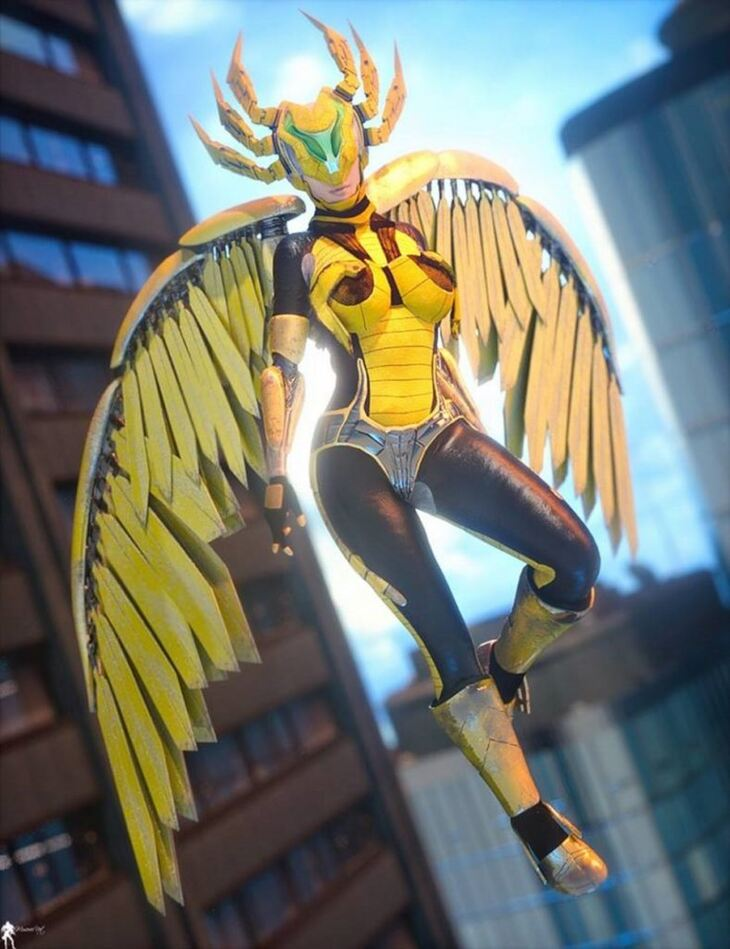 Cyborgations Vision Wings Outfit for Genesis 3 and 8 Female