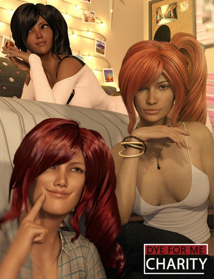 D4M Charity Hair for Genesis 3 Female(s) Bundle