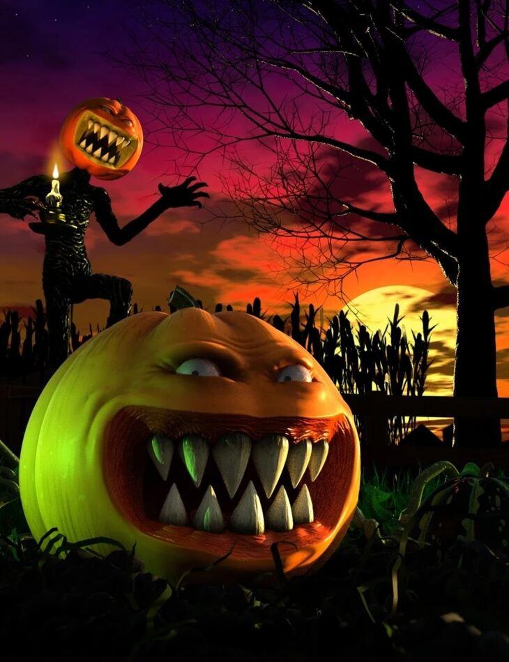 Evil Pumpkin HD for Genesis 8 Male