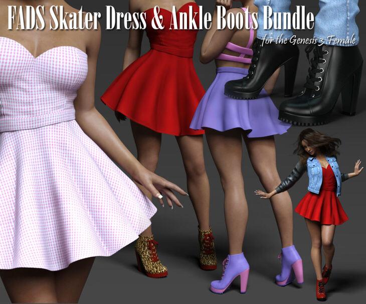 Fads Skater Dress & Ankle Boots G3F Bundle