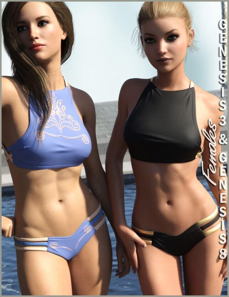 High Neck Bikini for Genesis 3 and Genesis 8 Female(s)