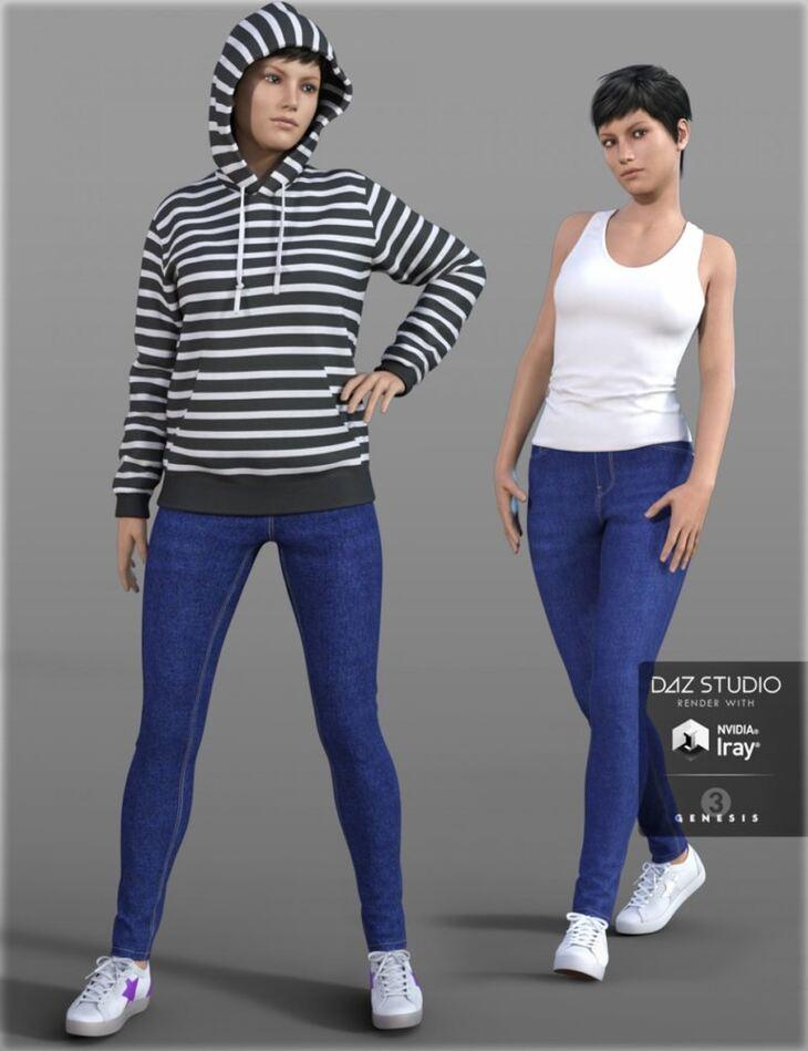 Hoodie & Skinny Jeans Outfit for Genesis 3 Female(s)