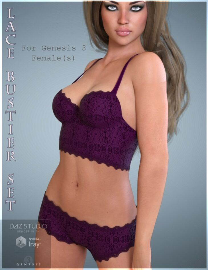 Lace Bustier Set for Genesis 3 Female(s)