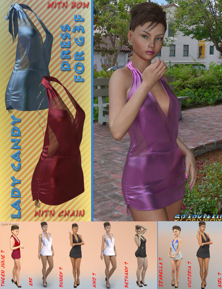 Lady Candy Dress for Genesis 3 Female