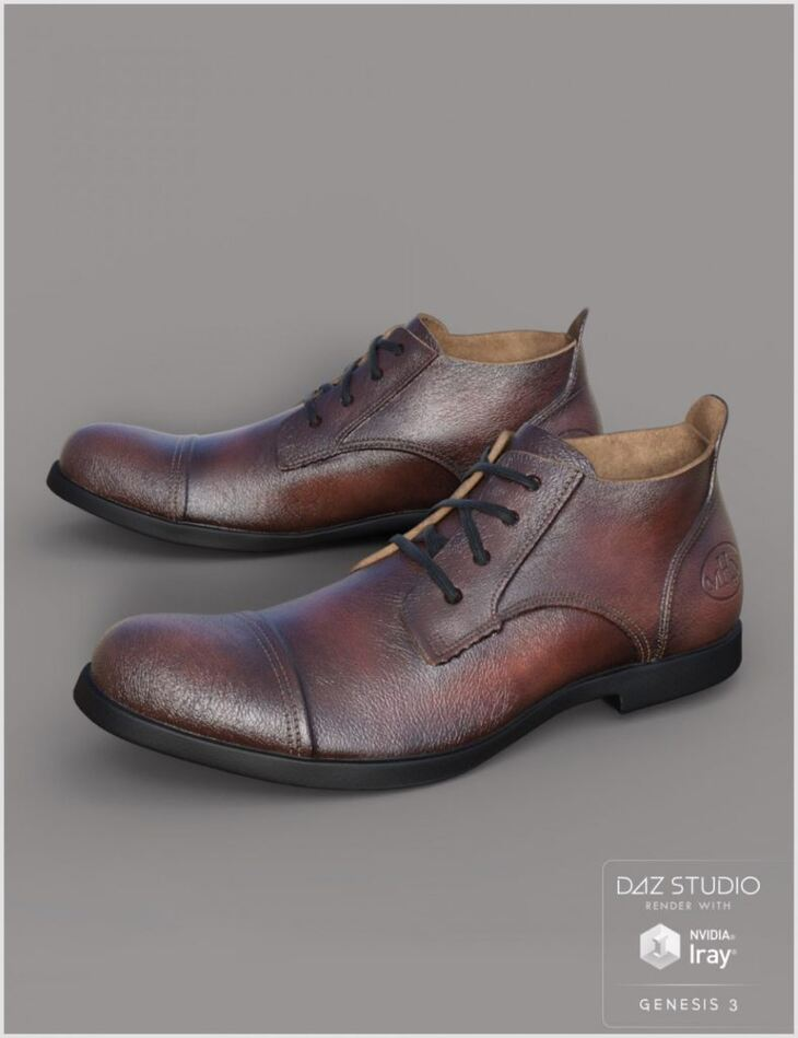 Leather Shoes For Genesis 3 Male(s)