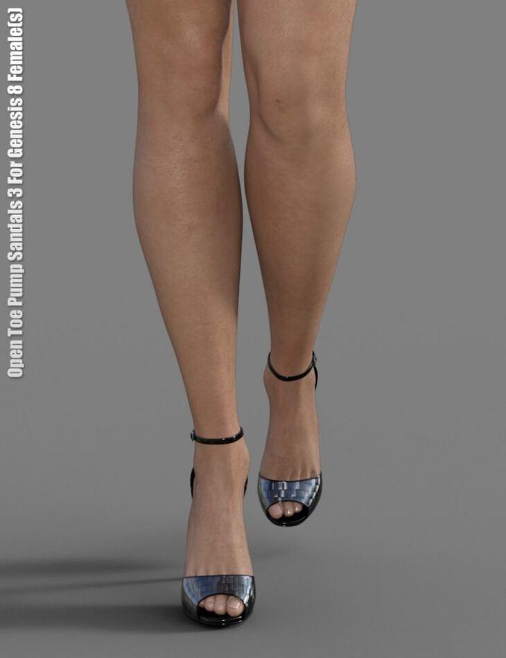 Open Toe Pump Sandals 3 for Genesis 8 Female(s)