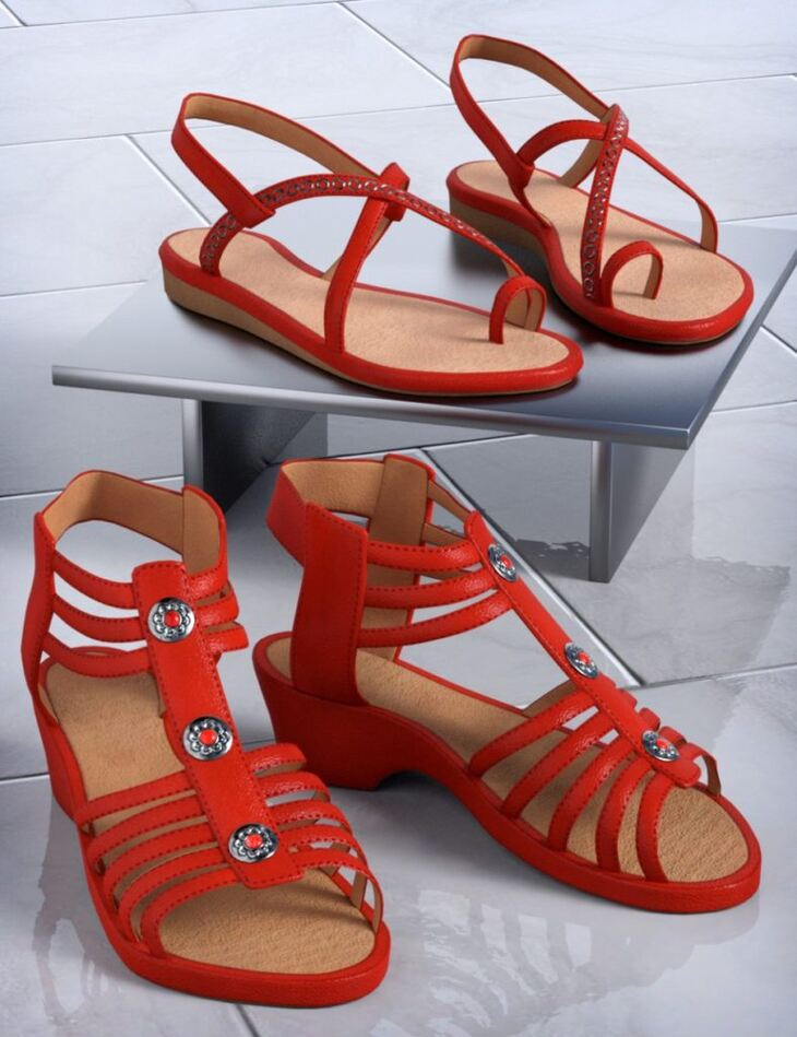 Patchwork Shoes: Sandals 1 & 2 for Genesis 3 and Genesis 8 Female(s)