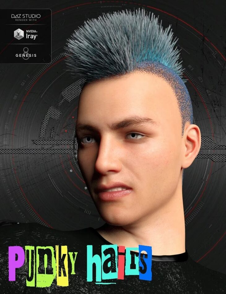 Punky Hair Styles for Genesis 8 Male(s)