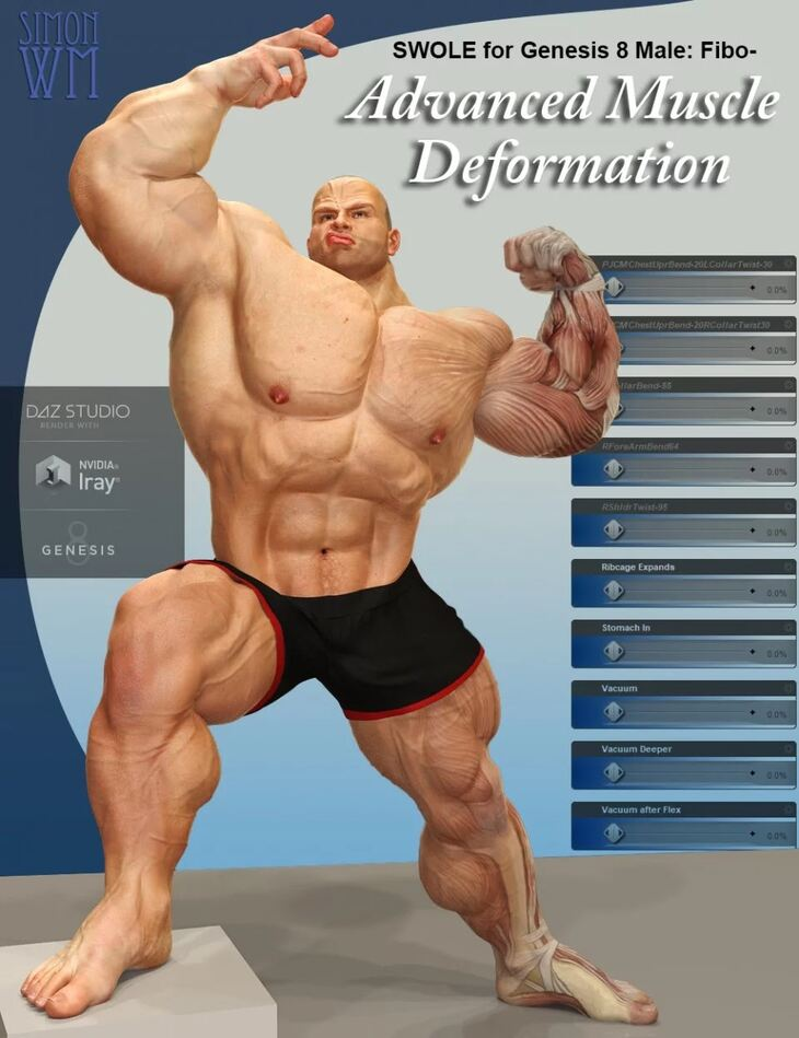 SWOLE for Genesis 8 Male: Fibo - Advanced Muscle Deformation