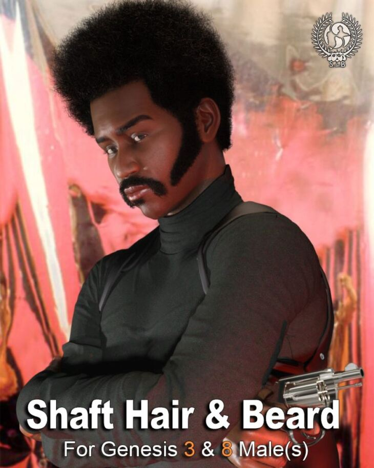 Shaft Hair and Beard Styles for Genesis 3 and 8 Male(s)