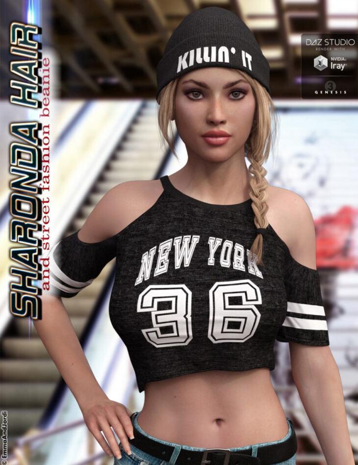 Sharonda Hair and Street Fashion Beanie for Genesis 3 Female(s)