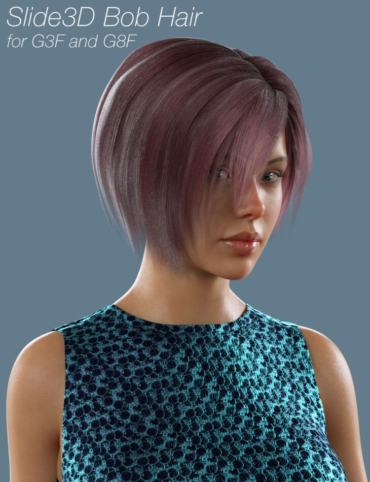Slide3D Bob Hair for G3F and G8F