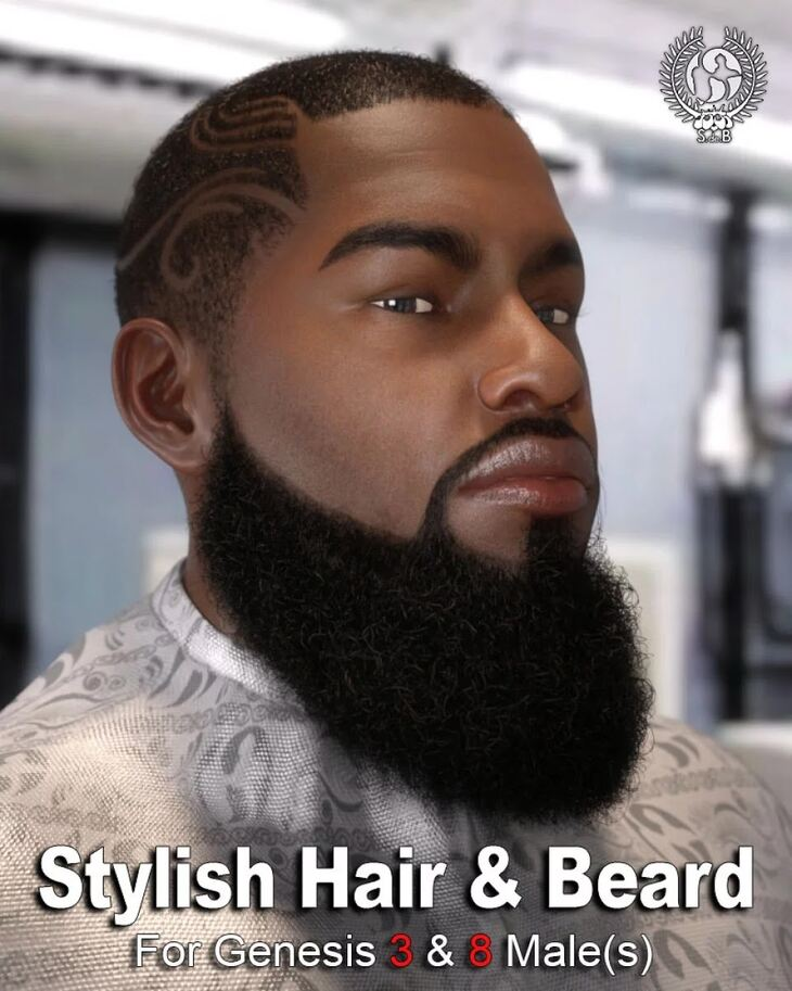 Stylish Hair and Beard for Genesis 3 and 8 Male(s)