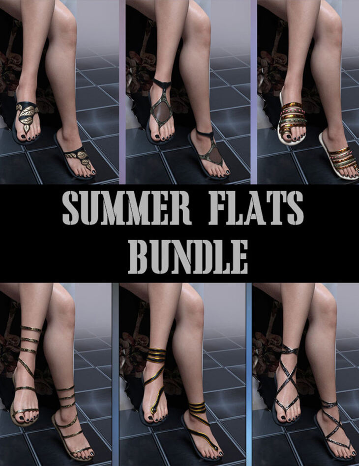 Summer Flats Bundle for Genesis 8 Females