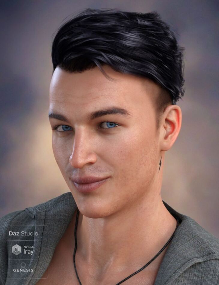 Terence Flipped Hair for Genesis 3 and 8 Male(s)