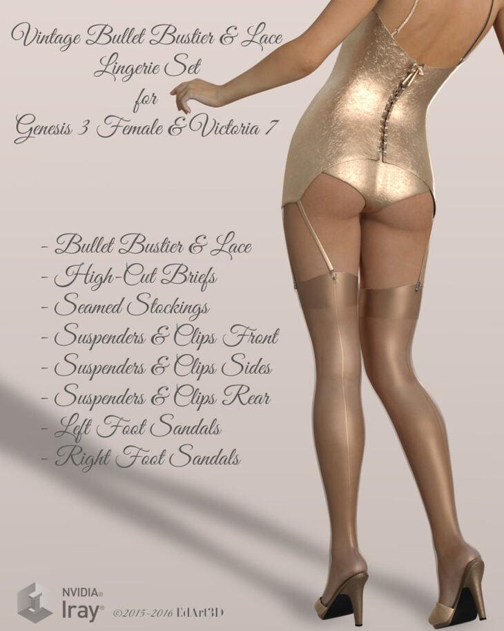 Vintage Bullet Bustier & Lace lingerie Set for G3F/V7