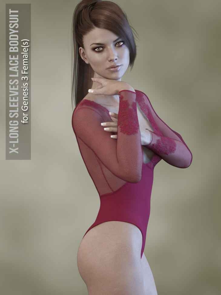 X-Fashion Long Sleeves Bodysuit for Genesis 3 Females