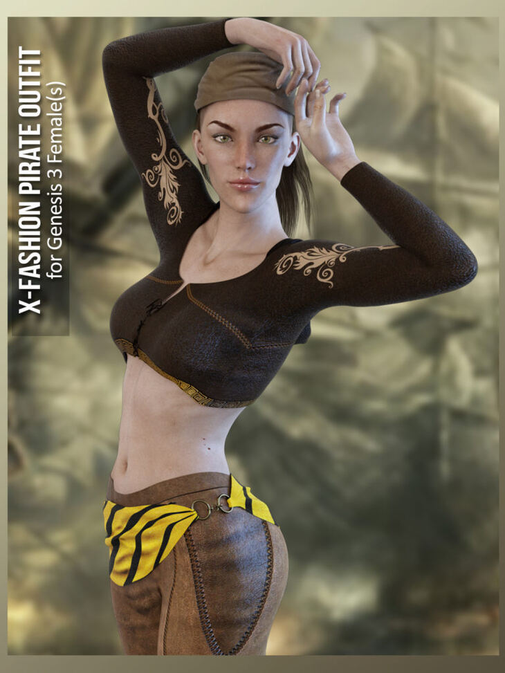 X-Fashion Pirate Outfit for Genesis 3 Female(s)