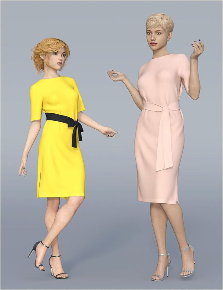 dForce H&C Belted Dress Outfit for Genesis 8 Female(s)