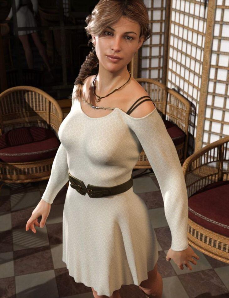 dForce Open Shoulder Dress for Genesis 8 Female(s)
