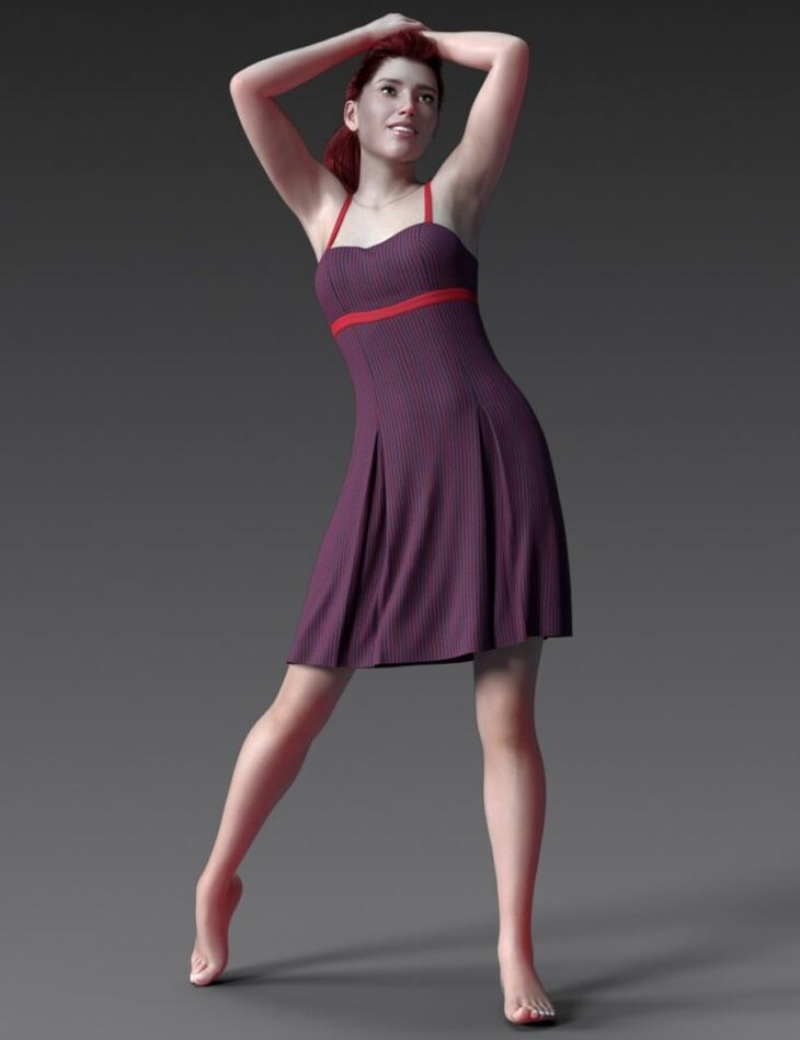dForce Pleated Ardor Dress for Genesis 8 Female